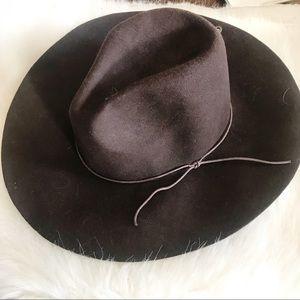 Festival boho felt hat brown one size